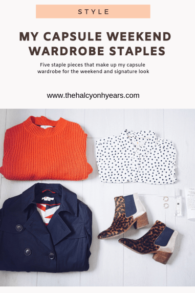 Looking for a killer capsule wardrobe. Here I talk you thorugh my staples for the weekend and four signature looks with Boden| The Halcyon Years | (flat lay of, blue coat, red jumper, leopard print boots and ladies white polka dot shirt)