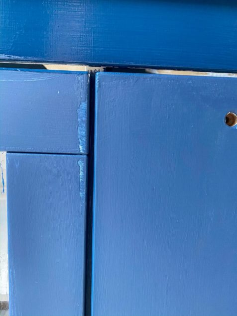 close up of blue Ikea Play Kitchen