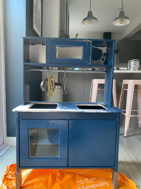 Ikea Duktig play kitchen stripped down and painted blue