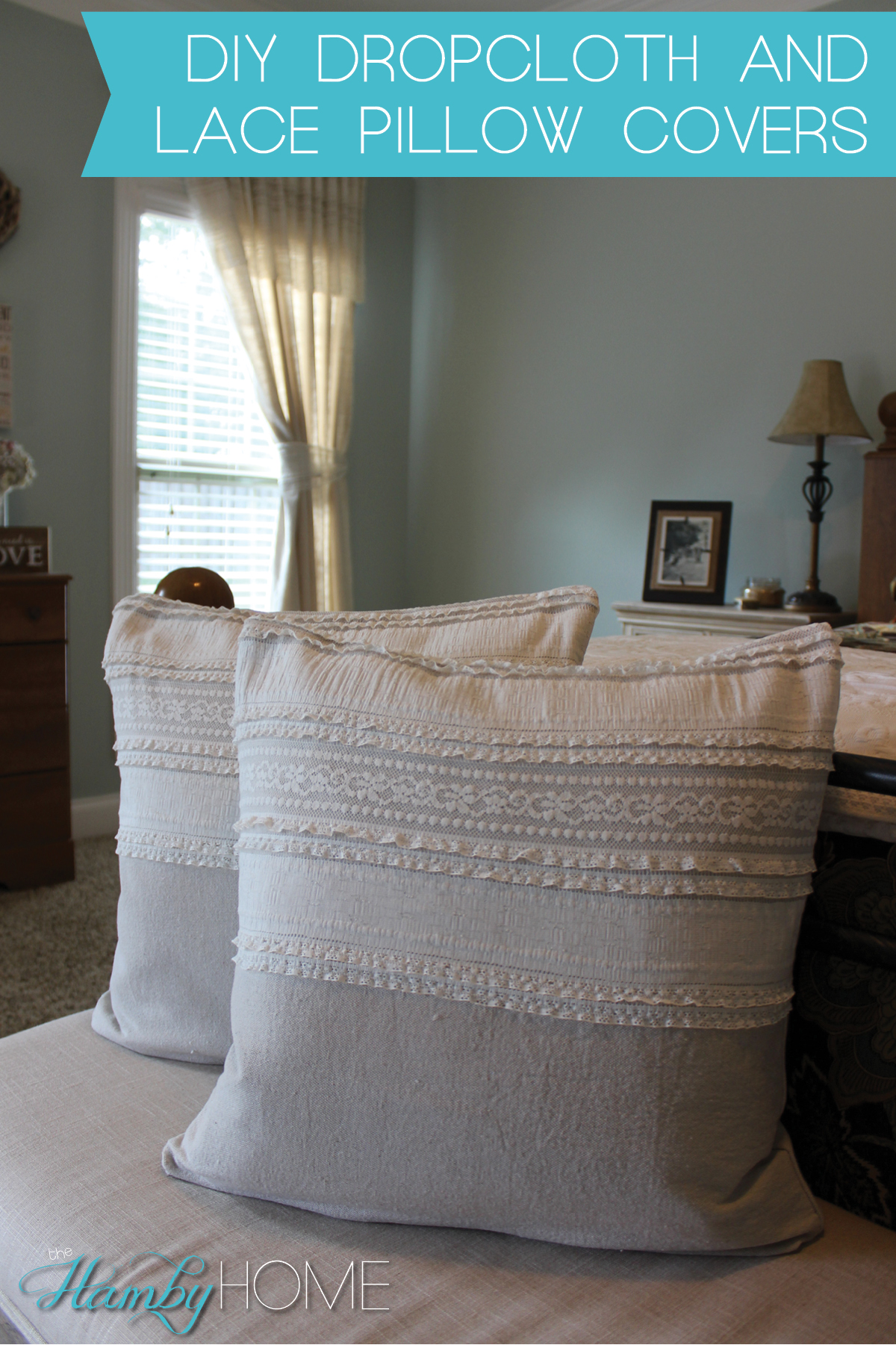 diy no sew dropcloth lace pillow covers the hamby home. Black Bedroom Furniture Sets. Home Design Ideas