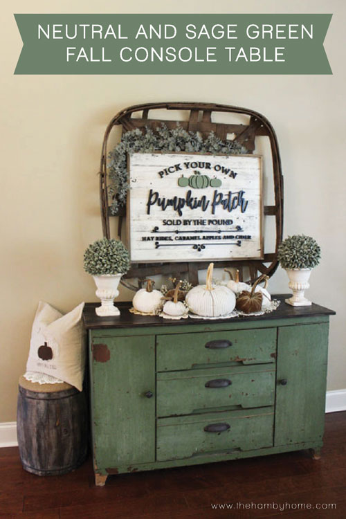 Netural And Sage Green Console Table Titlepic
