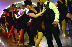 A salsa dance group, including Rebecca Rea, center, made up of 3rd Street Dance students, performs for a class at the studio, near the Beverly Center, in Los Angeles, California, December 15, 2010. (Jay L. Clendenin/Los Angeles Times/MCT)