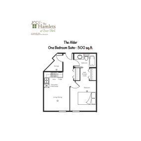 Floor Plan One Bedroom Suite - The Alder