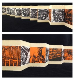 "Jeff White, Bridgebuilders, Accordion book, 2-color woodcut on handmade Thai Kozo on BFK tan, 4 1/8""x 46 3/4"" http://www.totemic17.com"