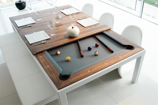 La mesa del comedor también será para jugar billar