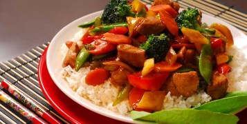 plate of pork stir fry with vegetables