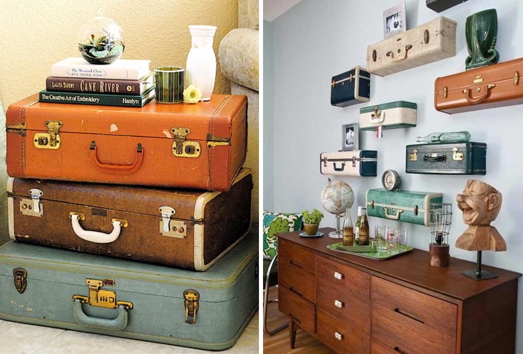 Plasma tu espíritu viajero en la decoración de tu hogar - maletas