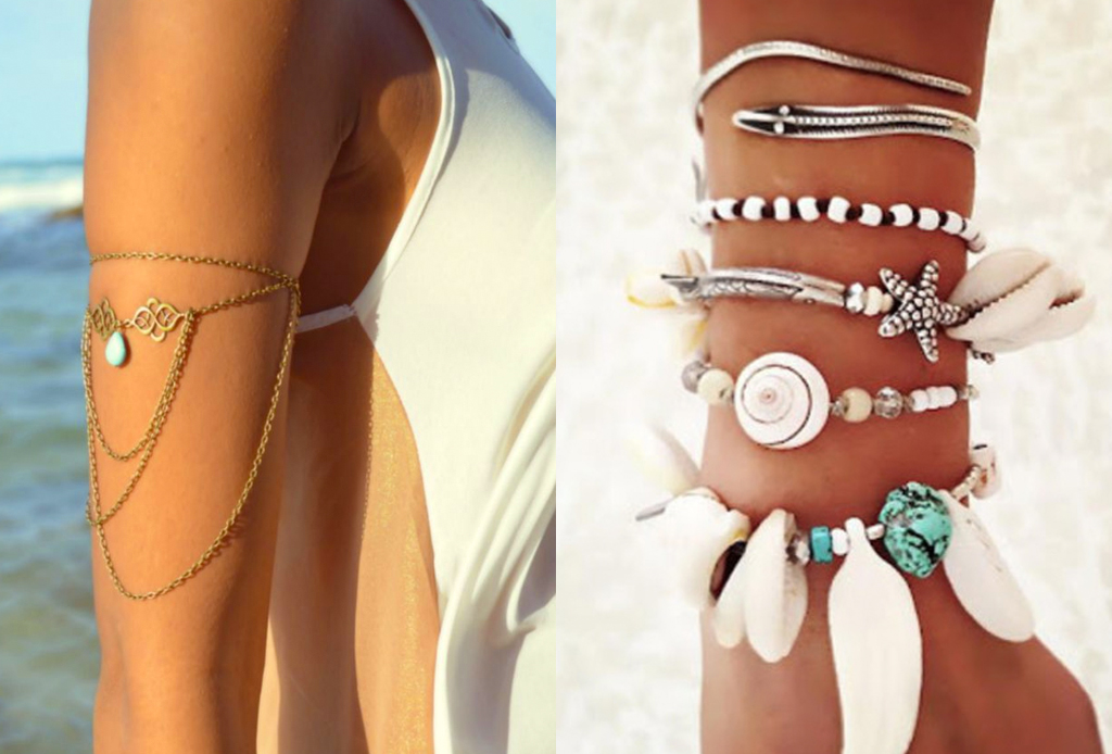 6 piezas de joyería para combinar con tu outfit playero - brazaletes-plata