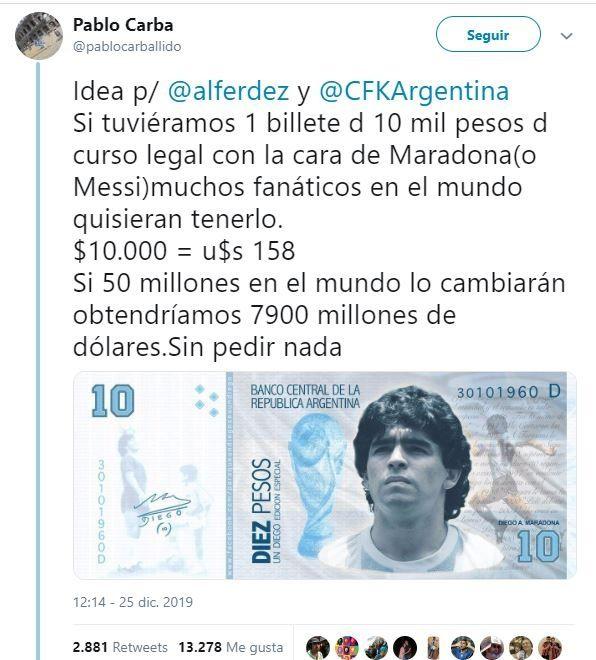 ¡Adiós a Maradona! Recordamos algunas de sus excentricidades - billetes-maradona