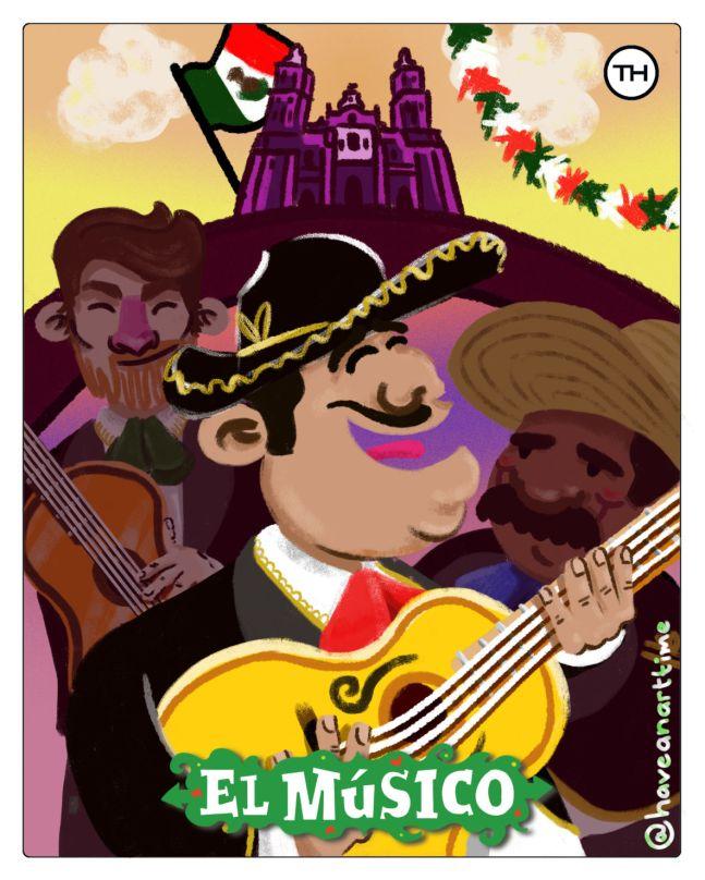 Conoce la Lotería Colaborativa de The Happening con talento mexicano - el-musico-plantillaloteria-th