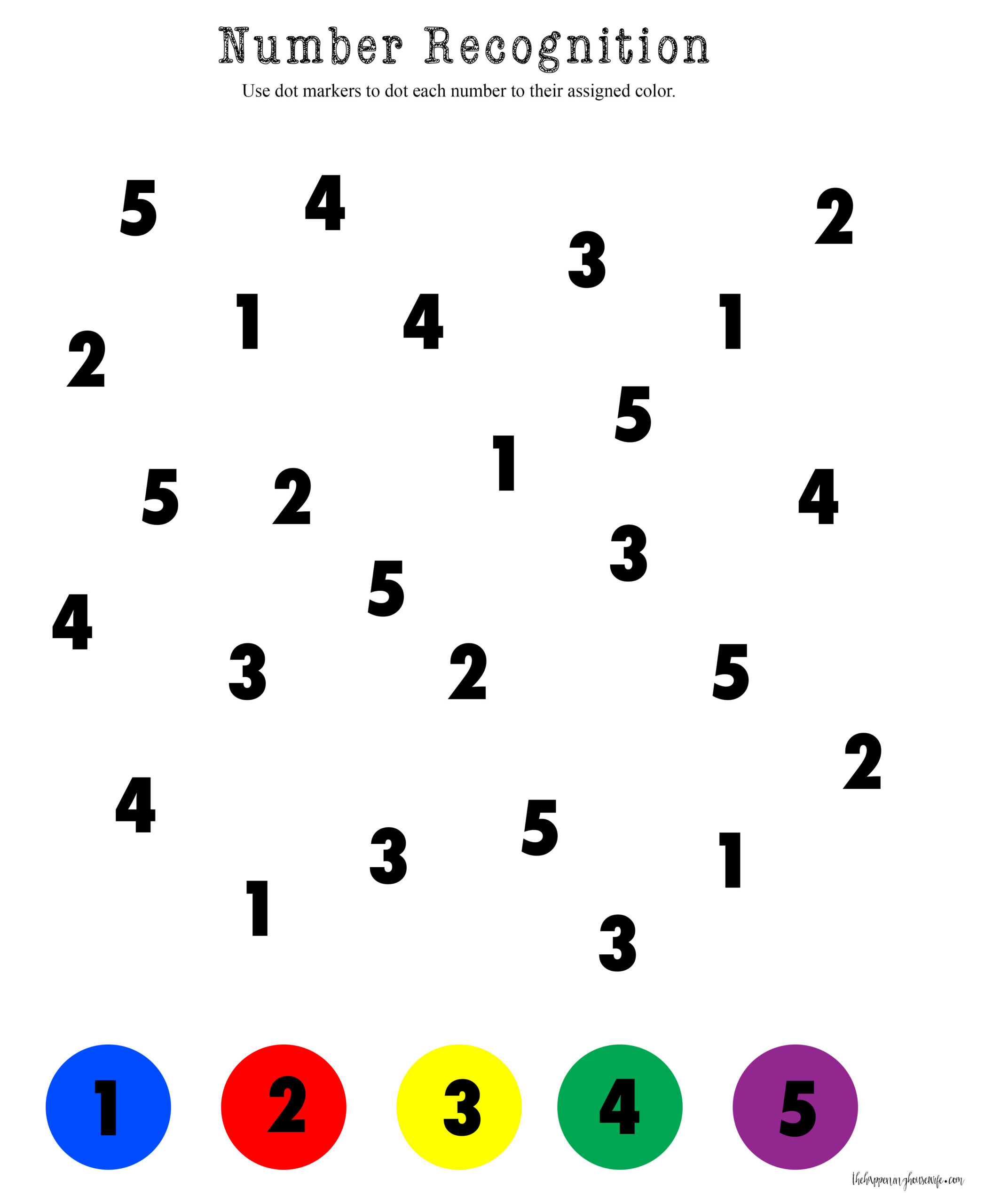 Dot Marker Numbers 1 5 Worksheet