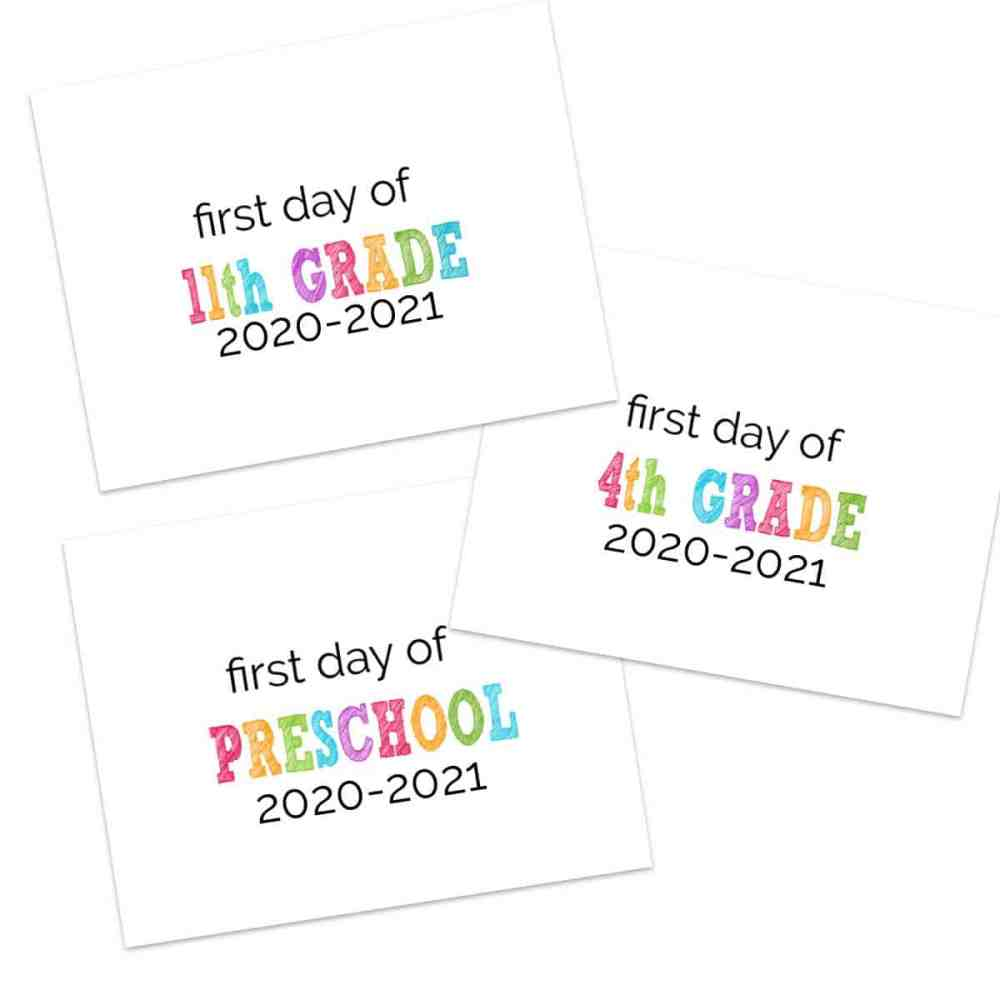 medium resolution of Printable First Day of School Signs 2020-2021   The Happier Homemaker