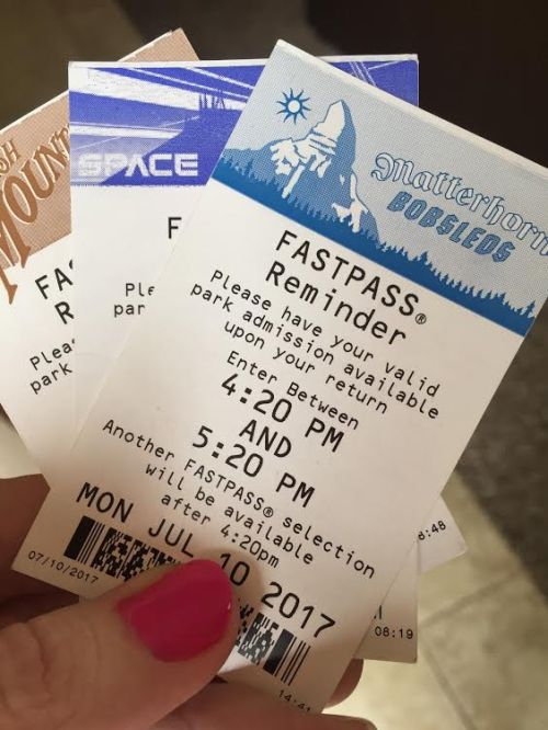 Disneyland FASTPASS reminder including Matterhorn Bobsleds, Space Mountain and Big Thunder Mountain Railroad.