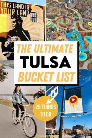 downtown tulsa mural, gathering place park, girl riding beach cruiser along arkansas river and tulsa flag downtown