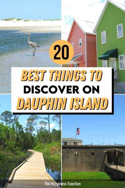 top left photo: Great Blue Heron fishing along white sand beach, top right photo: colorful beach house, bottom right photo: Audubon Bird Sanctuary trail and boardwalk through marsh, bottom right photo: Fort Gains historic fort on Dauphin Island