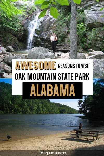 girl hiking to Peavine Falls waterfall at Oak Mountain State Park in Alabama, bottom photo: enjoying lake views at Oak Mountain beach