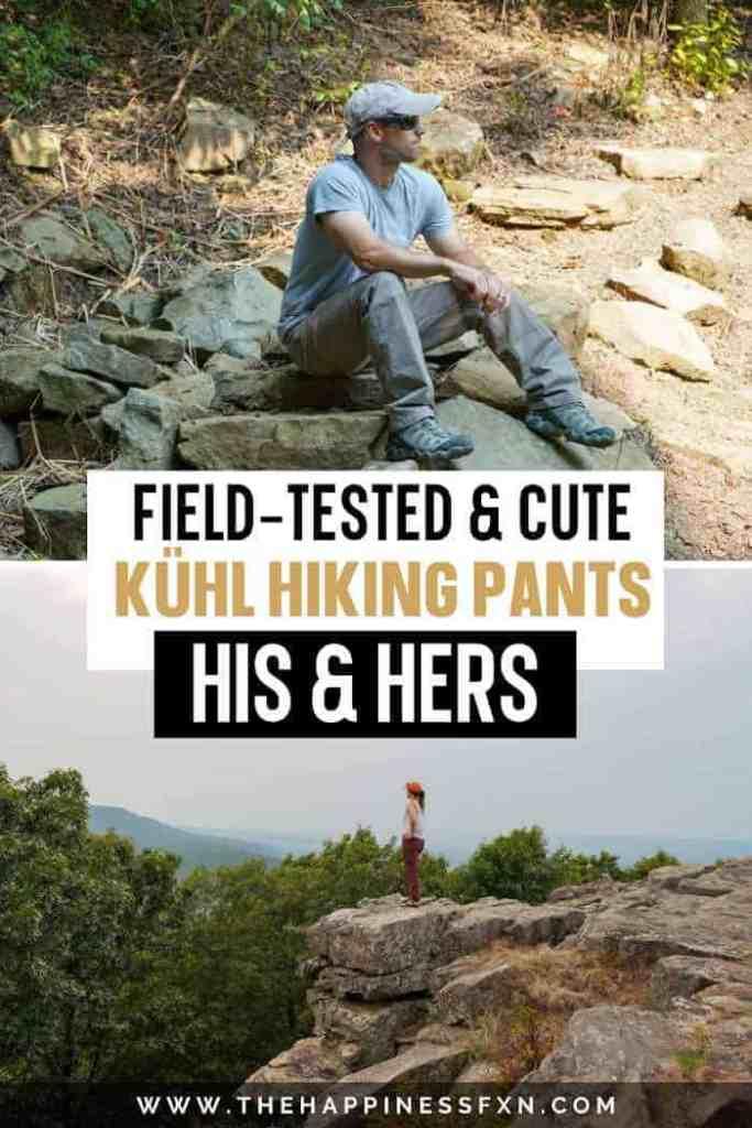 Top photo: man sitting on rocks along hiking trail wearing Kuhl hiking pants, bottom photo: girl standing on rocks with Kuhl hiking pants overlooking mountains