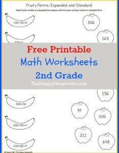 Math worksheets for nd grade free printables also the happy housewife rh thehappyhousewife