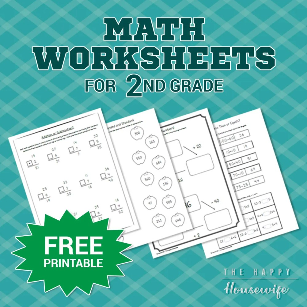 medium resolution of Math Worksheets for 2nd Grade: Free Printables - The Happy Housewife™ ::  Home Schooling