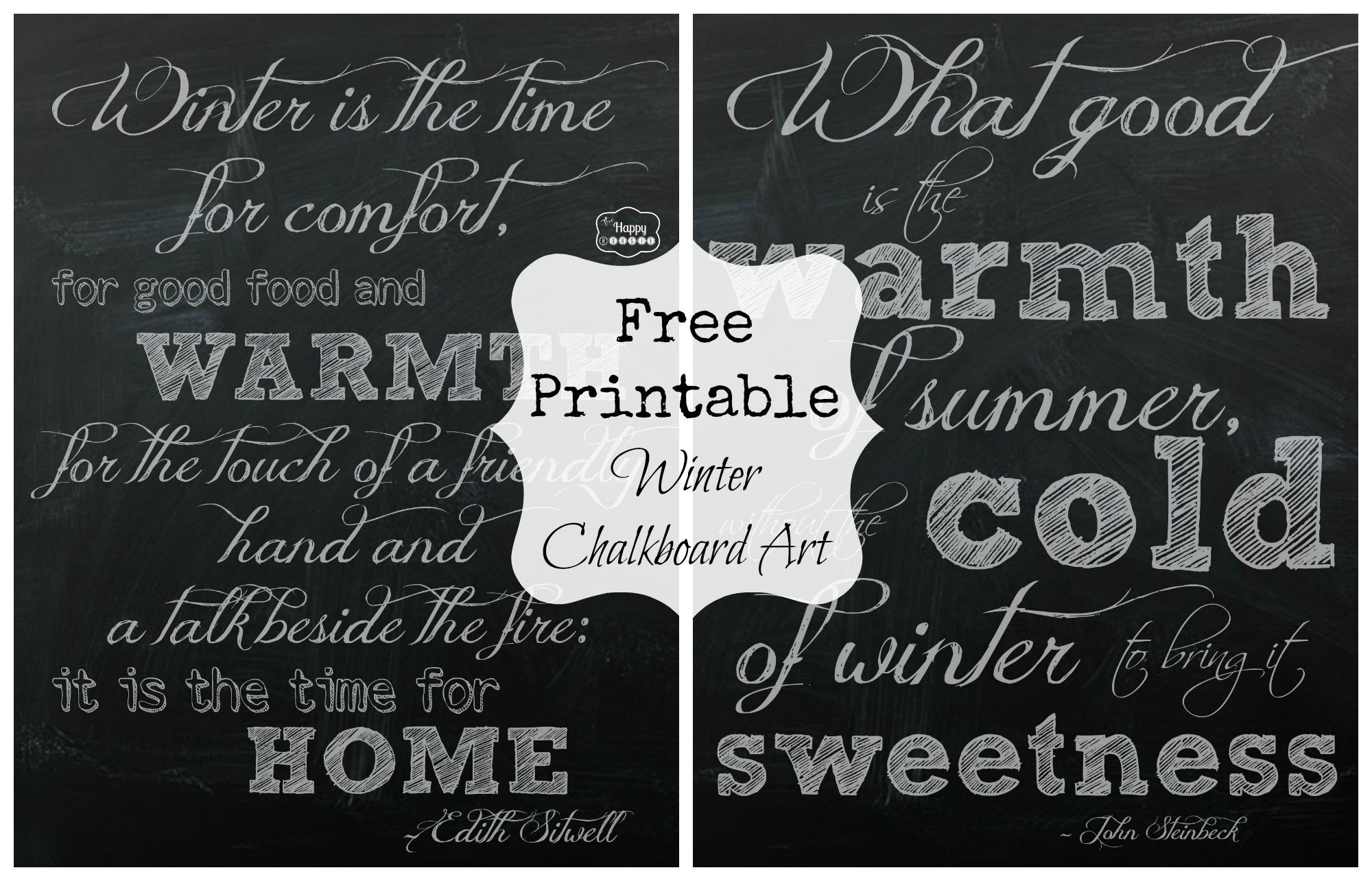 Free Printable Winter Chalkboard Art