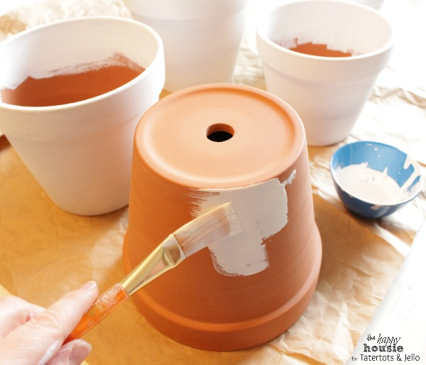 White and Gold Herringbone Pots for Spring painting them by the happy housie for tatertots and jello