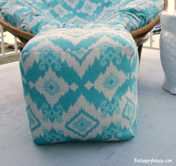 outdoor pouf chair walmart rocking chairs how to sew a diy ottoman {indoor or outdoor} - the happy housie