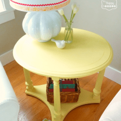 Diy Living Room Side Tables Grey With Dark Wood Floors Mellow Yellow Chalk Paint Table The Happy Housie