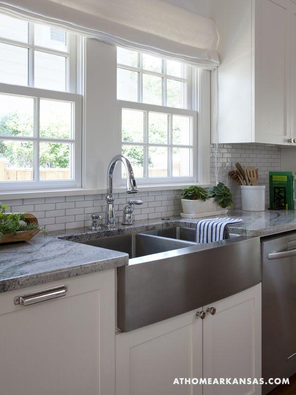 stainless steel farmhouse style kitchen