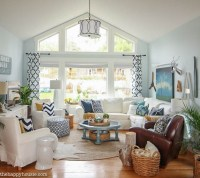 Cozy Coastal Navy and White Living Room Refresh | The ...