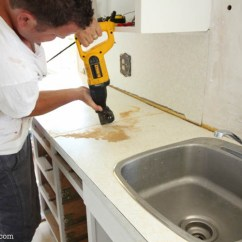 Replacing Kitchen Countertops Hgtv Makeover How To Install New On Old Cabinets The Happy Housie Super Thrifty At Thehappyhousie Com 8