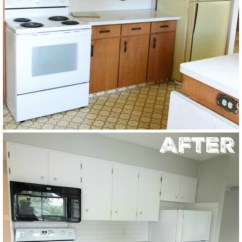 Kitchen Make Over Appliances Brooklyn Super Thrifty Budget White Makeover Reveal The Happy Housie With Benjamin Moore Simply Painted Cabinets And D Lawless Hardware At