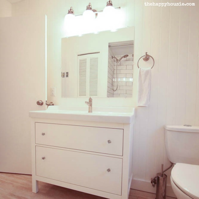 Thrifty Bathroom Makeover with an Ikea Hemnes Vanity