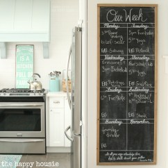 Kitchen Blackboard Prices Diy Giant Chalkboard Weekly Planner The Happy Housie To Make This We Started With A 1 4 Piece Of Cabinet Grade Plywood Cut Into 20 By 48 You Can Pick Up At Your Local Lumber Supply Store And They May