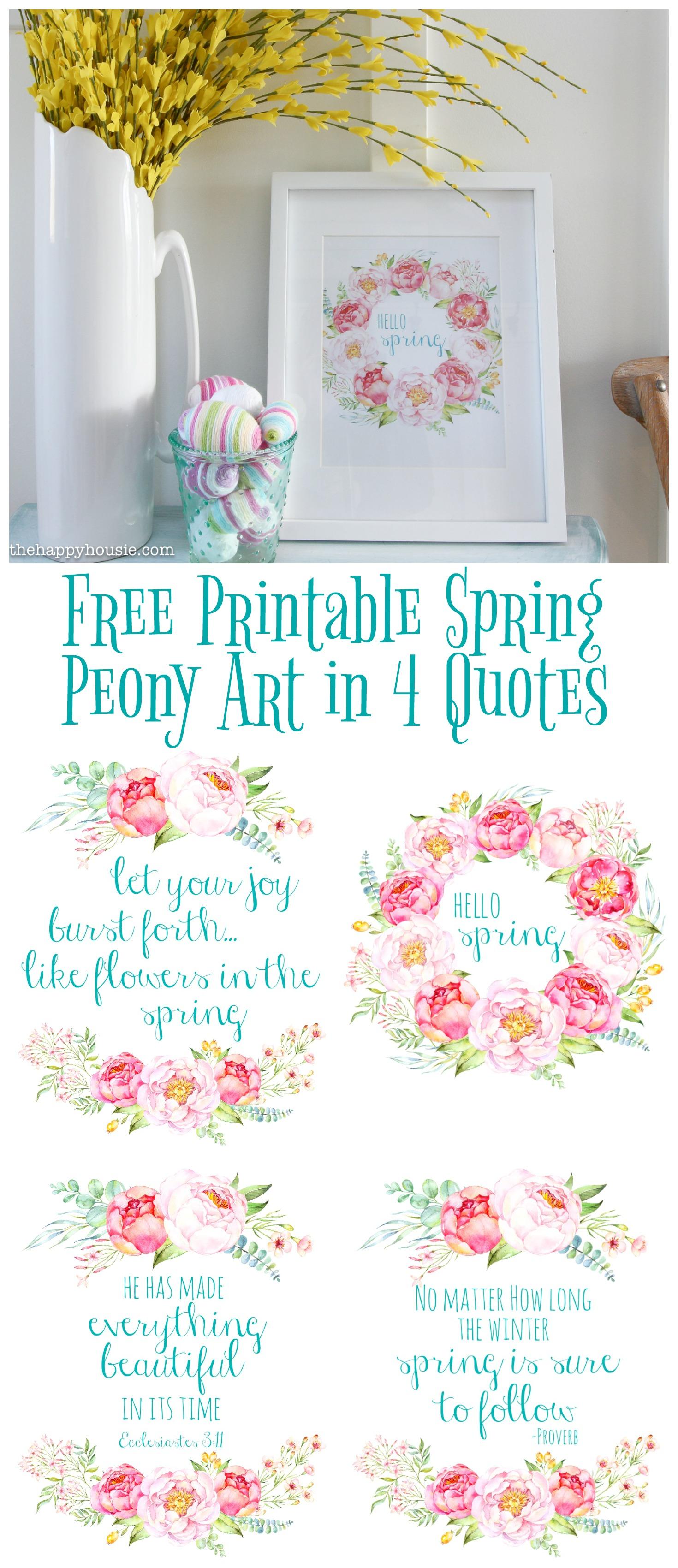 Free Printable Spring Peony Art Amp Easter Art