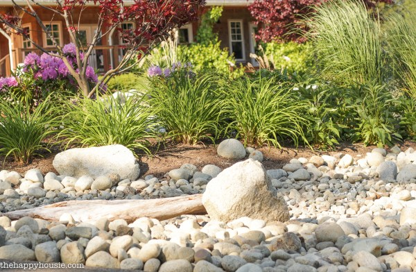 landscaping with river rock & dry