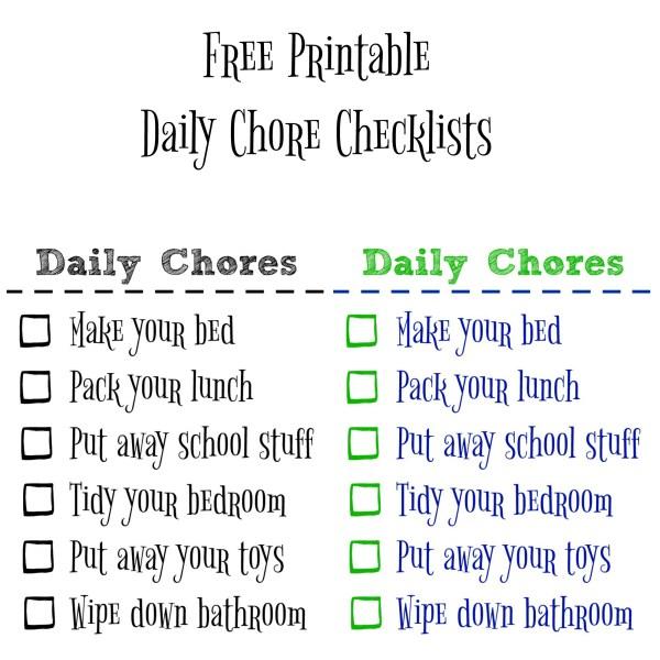 Free Printable Chore Checklist