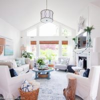 Beachy Blue & Green Summer Living Room Tour - The Happy Housie