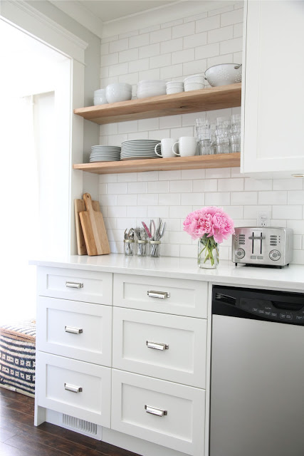 wood shelves kitchen open cabinets farmhouse shelving choices the happy housie again natural of these looks beautiful against a white backdrop subway tile in this shaker via dougelissa