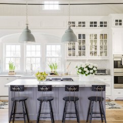 Grey Kitchen Island L Shaped Outdoor 15 Gorgeous White Kitchens With Coloured Islands The Happy Housie Classic Cozy And Warm In This Via Our Vintage Nest Breaks Up All Whites Room Pairs Nicely