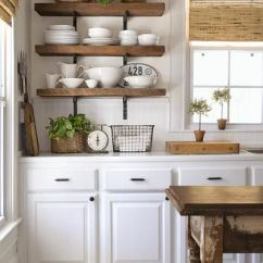Kitchen Open Shelves Metal Chairs Farmhouse Shelving Choices The Happy Housie I Love Contrast Of Wooden With Dark Finishes Against White Shiplap In This Stunning Makeover Via Aka Design
