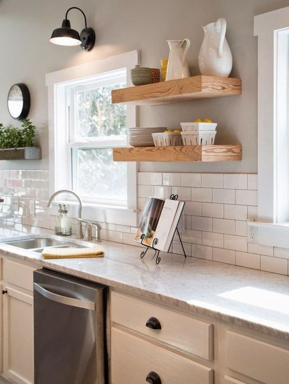 wood shelves kitchen kwc faucets farmhouse open shelving choices the happy housie with brackets