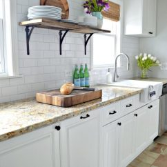 Kitchen Open Shelves Wall Cabinets Unfinished Farmhouse Shelving Choices The Happy Housie I Love Warm Contrast Of Bamboo Blinds And This Rustic With White Light Walls In Makeover Via
