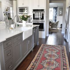 Grey Kitchen Island Honest Keen 15 Gorgeous White Kitchens With Coloured Islands The Happy Housie Classic Cozy And Warm In This Via Our Vintage Nest Breaks Up All Whites Room Pairs Nicely