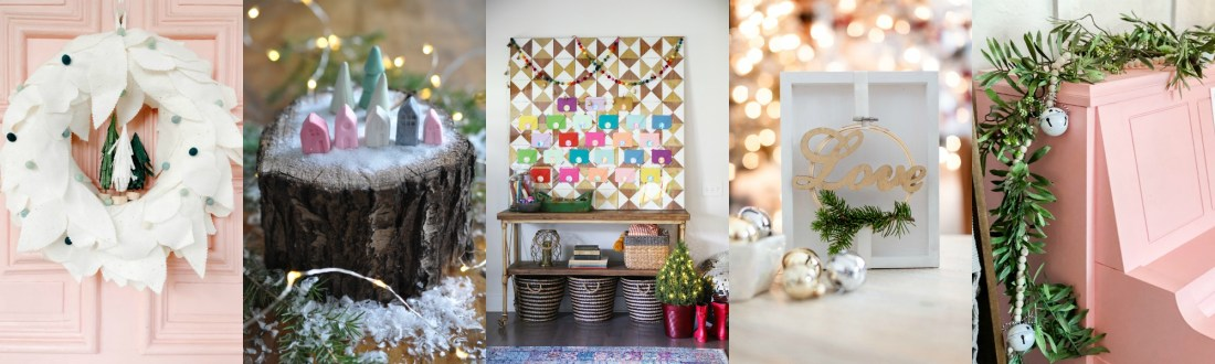 Christmas Village by popular Canada DIY blog, Fynes Designs: collage image of a Christmas wreath, pink piano decorated with a silver bell garland, advent calendar, and Christmas houses.