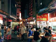 Restaurant at night market in Temple Street, Hongkong
