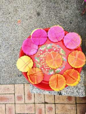 Colourful buddhist offerings