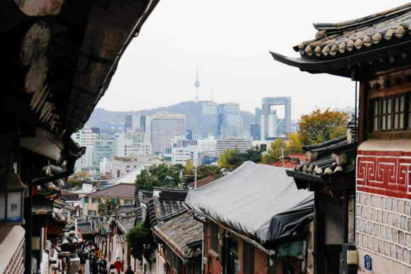 Downhill view with Seoul Tower, Bukchon Hanok Village, Seoul, Korea