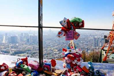 Liebesschlösser und Panoramablick vom Berg Namsan, Seoul