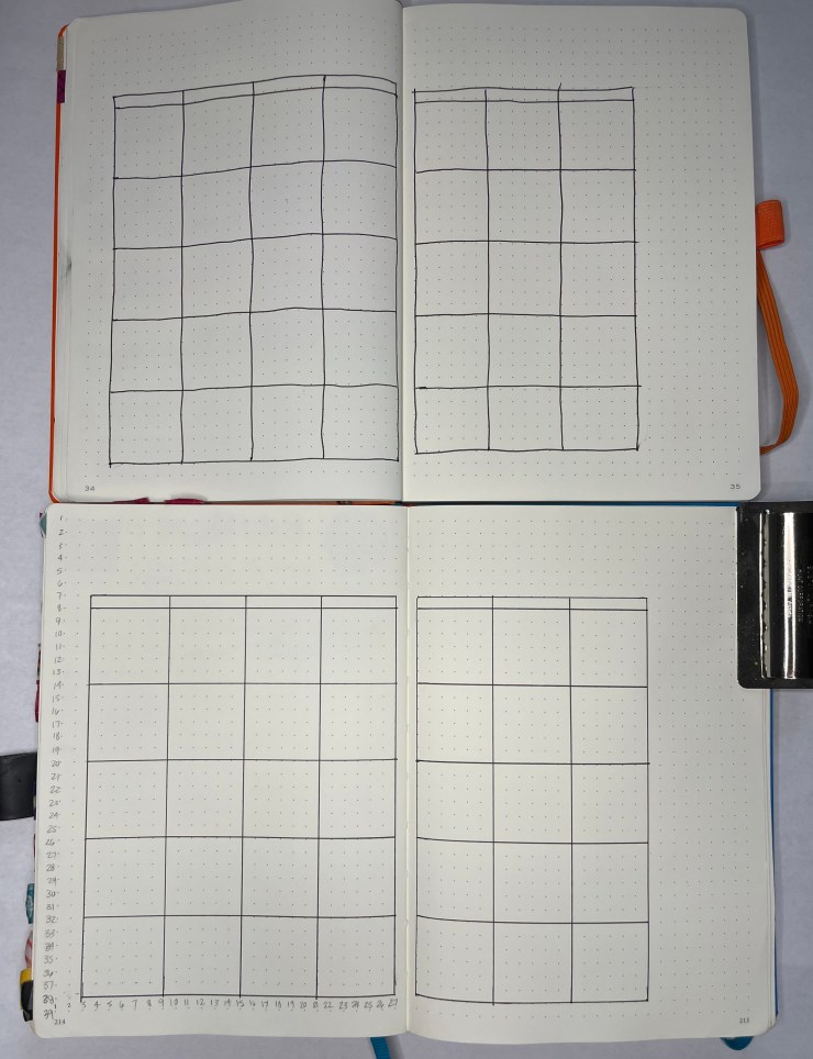 Monthly Spread Bullet Journal Grid