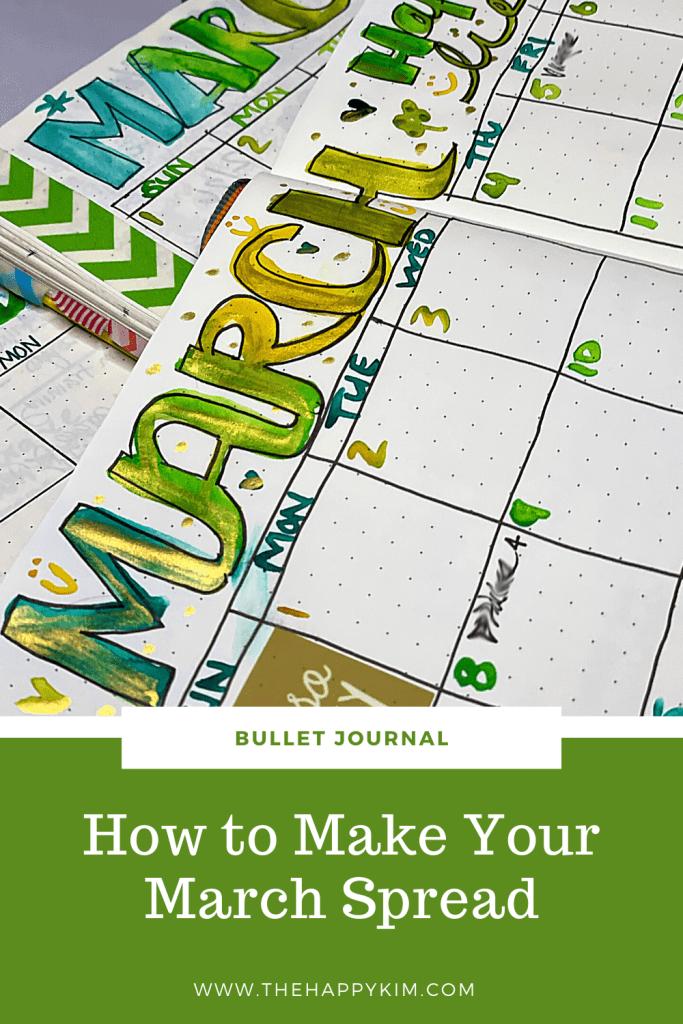 march monthly spread ideas bujo